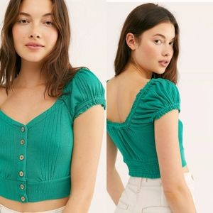NWT Free People Brighter Days London Green Tee, M